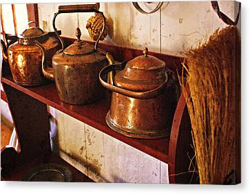Kettles In A Row Canvas Print by Marty Koch