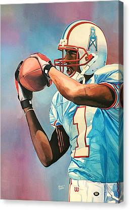 Kevin Dyson - Houston Oilers Canvas Print by Michael  Pattison