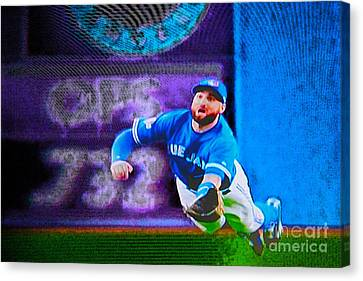 Kevin Pillar In Action II Canvas Print by Nina Silver