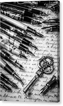 Key And Fountain Pens Canvas Print