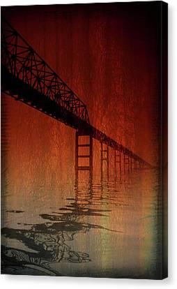 Key Bridge Artistic  In Baltimore Maryland Canvas Print by Skip Willits
