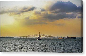 Key Bridge From Ft Smallwood Pk - Paint Fx Canvas Print by Brian Wallace