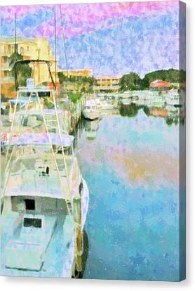 Key Largo Marina Canvas Print by Florene Welebny