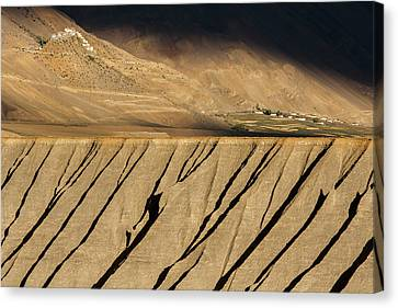 Canvas Print featuring the photograph Key Monastery And Spiti Valley, Spiti, 2008 by Hitendra SINKAR