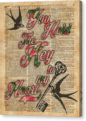 Key To My Heart Dictionary Art Canvas Print by Jacob Kuch