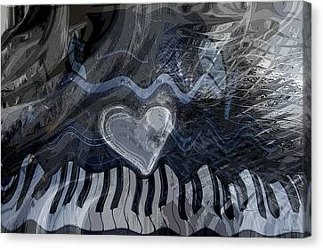Canvas Print featuring the digital art Key Waves by Linda Sannuti