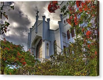 Royal Poinciana Canvas Print - Key West Church by William Wetmore