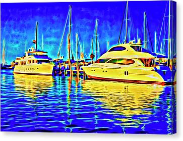 Key West Glow Boats Canvas Print by Charles Haaland