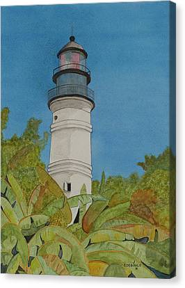 Key West Lighthouse Canvas Print by John Edebohls