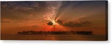 Key West Sunset Panoramic Canvas Print by Melanie Viola