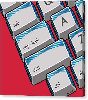 Canvas Print featuring the digital art Computer Keyboard by Ron Magnes