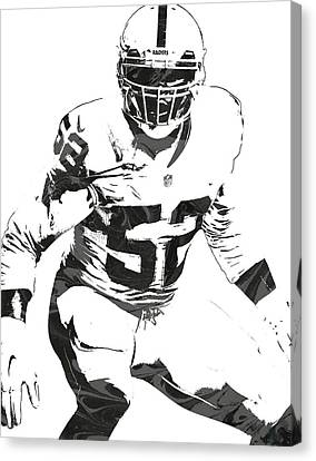 Khalil Mack Oakland Raiders Pixel Art 1 Canvas Print by Joe Hamilton