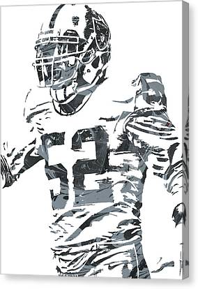Khalil Mack Oakland Raiders Pixel Art 4 Canvas Print by Joe Hamilton