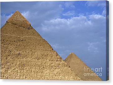 Khephren Pyramid And The Great Pyramid Canvas Print by Sami Sarkis