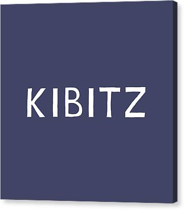 Judaic Canvas Print - Kibitz In Navy And White- Art By Linda Woods by Linda Woods