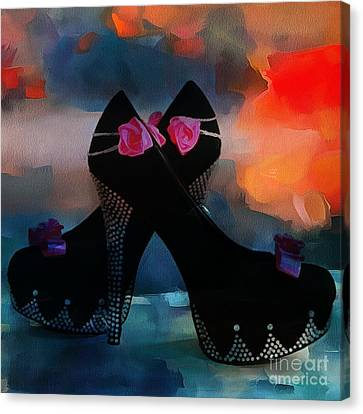 Kickin It In Heels In Thick Paint Canvas Print by Catherine Lott