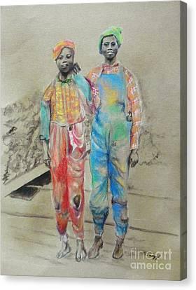 Kickin' It -- Black Children From 1930s Canvas Print
