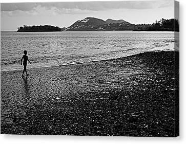 Kid On Beach-st Lucia Canvas Print