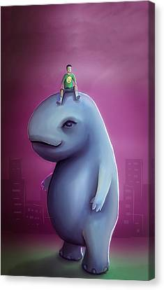 Kid Rides Giant Pet Canvas Print by Rui Barros