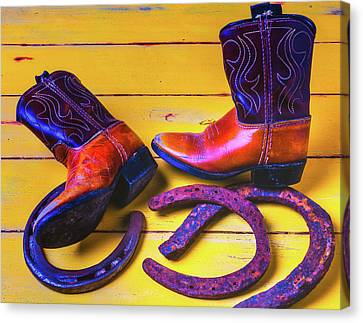 Kids Boots And Horse Shoes Canvas Print
