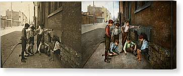 Kids - Cincinnati Oh - A Shady Game 1908 - Side By Side Canvas Print
