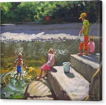 Kids Fishing   Looe   Cornwall Canvas Print by Andrew Macara