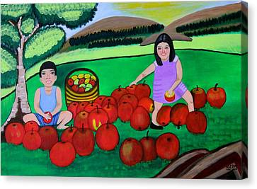Kids Playing And Picking Apples Canvas Print by Lorna Maza