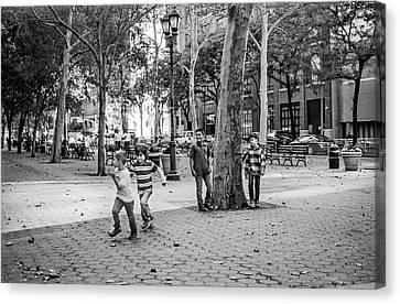 Kids Playing East Side Canvas Print by Andrew Kazmierski