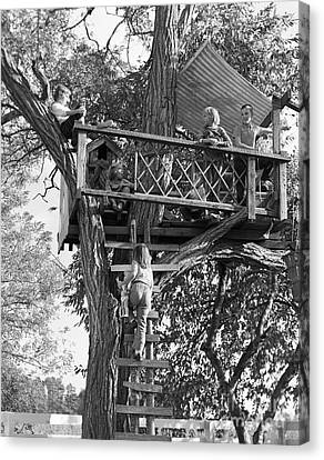 Kids Playing In Tree House, C.1960s Canvas Print by D. Corson/ClassicStock