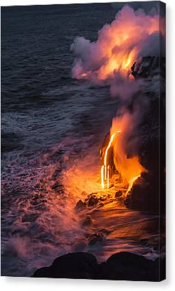 Outdoor Canvas Print - Kilauea Volcano Lava Flow Sea Entry 6 - The Big Island Hawaii by Brian Harig