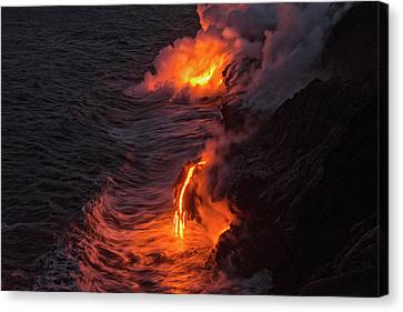 Lava Flow Canvas Print - Kilauea Volcano Lava Flow Sea Entry - The Big Island Hawaii by Brian Harig