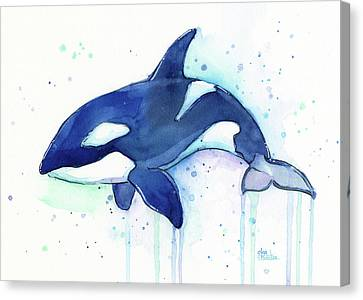 Kiler Whale Watercolor Orca  Canvas Print by Olga Shvartsur