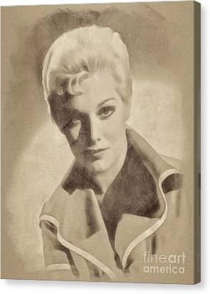 Kim Novak, Vintage Actress By John Springfield Canvas Print by John Springfield