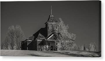 Country Schools Canvas Print - Kimberly School House Black And White by Paul Freidlund