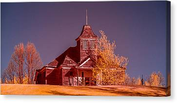 Country Schools Canvas Print - Kimberly School House Infrared False Color by Paul Freidlund