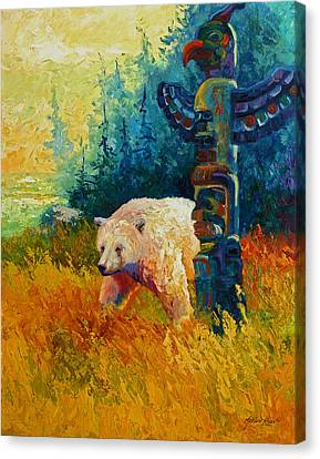 Salmon Canvas Print - Kindred Spirits - Kermode Spirit Bear by Marion Rose