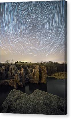 Ledge Canvas Print - King And Queen Star Trails by Aaron J Groen