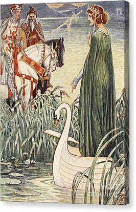 Arthurian Canvas Print - King Arthur Asks The Lady Of The Lake For The Sword Excalibur by Walter Crane