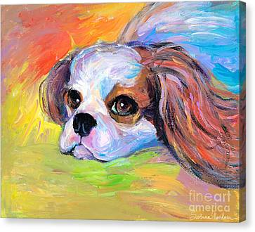 King Charles Cavalier Spaniel Dog Painting Canvas Print by Svetlana Novikova