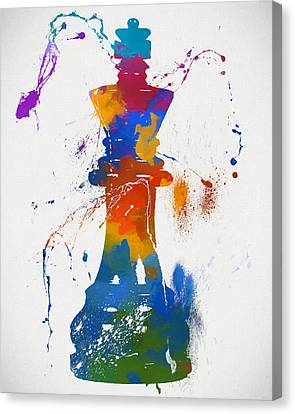 King Chess Piece Paint Splatter Canvas Print