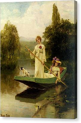 King Henry John Yeend Two Ladies Punting On The River Canvas Print