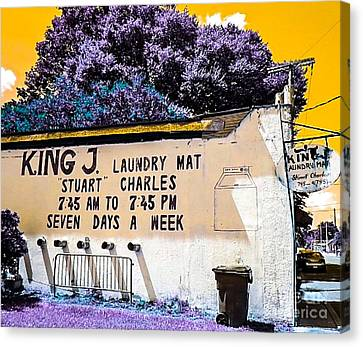 Laundry Mat Canvas Print - King J. Laundry Mat by Paula Baker