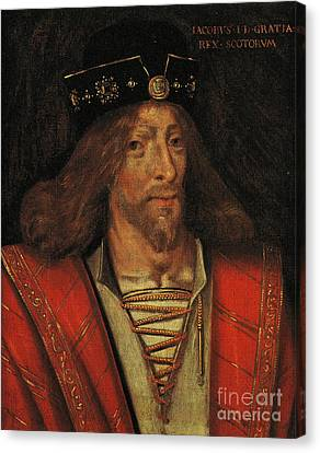 King James I Of Scotland Circa 1425 By Unknown Canvas Print by Peter Gumaer Ogden Collection