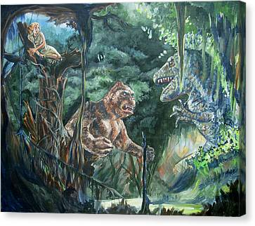 Canvas Print featuring the painting King Kong Vs T-rex by Bryan Bustard