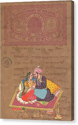 King Of India Mughal Art Of Love Kamsutra Indian Miniature Watercolor Painting On Old Stamp  Canvas Print