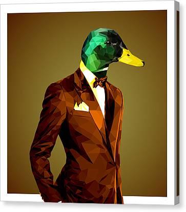 Ducklings Canvas Print - Geometric Mallard Duck by Gallini Design