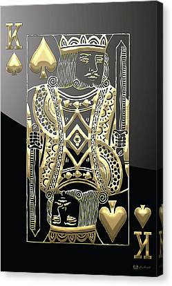 Canvas Print featuring the digital art King Of Spades In Gold On Black   by Serge Averbukh