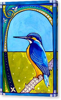Canvas Print featuring the painting Kingfisher by Dora Hathazi Mendes