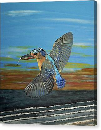 Canvas Print featuring the painting Kingfisher Of Eftalou by Eric Kempson