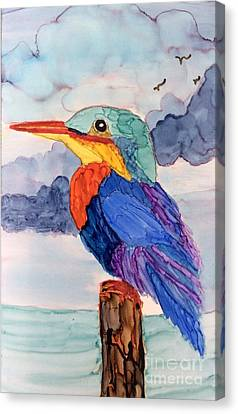 Canvas Print featuring the painting Kingfisher On Post by Suzanne Canner